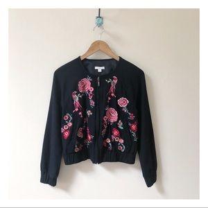 NEW YORK & CO black pink embroidered bird jacket